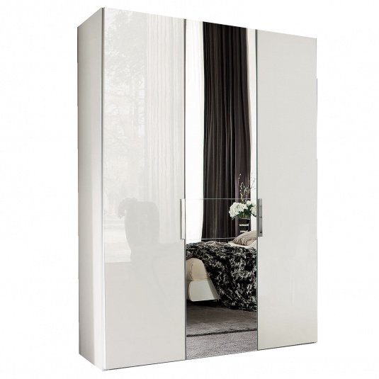 Torino White High Gloss 3 Door 239cm Wardrobe