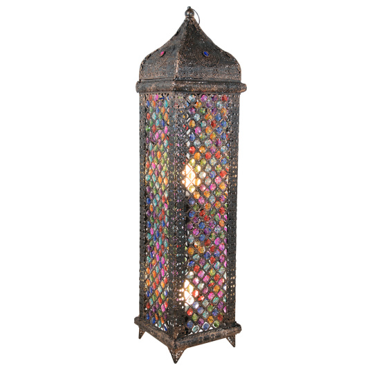Jasmine Bronze & Multicoloured Floor Lamp