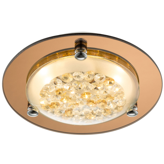 Froo Flush Amber and Clear Crystal LED Ceiling Light