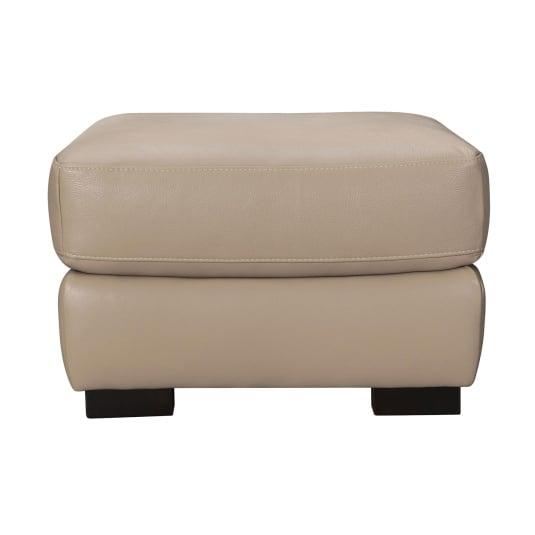 Alberta Beige Leather Footstool
