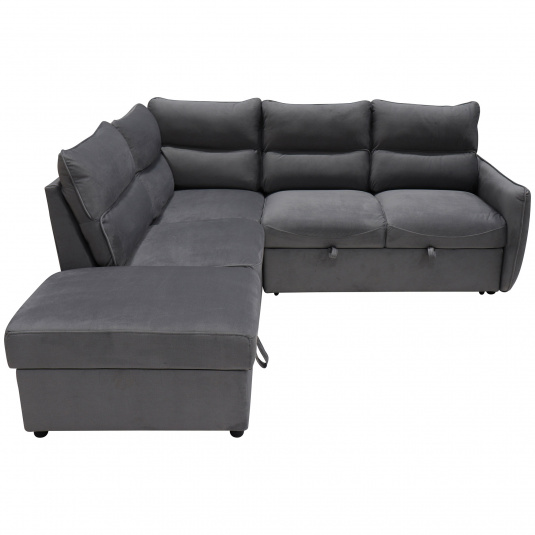 Harbour Grey Fabric Corner Sofa With Ottoman