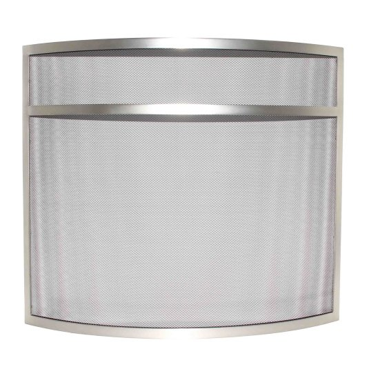 Ward Curved Silver Mesh Fire Guard