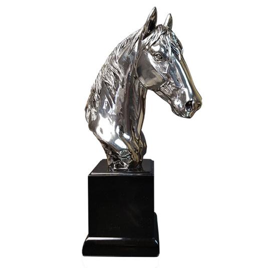 Medium Nickel Resin Horse Sculpture