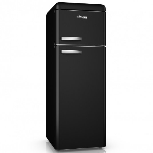 Swan Retro Black Top Mounted Fridge Freezer