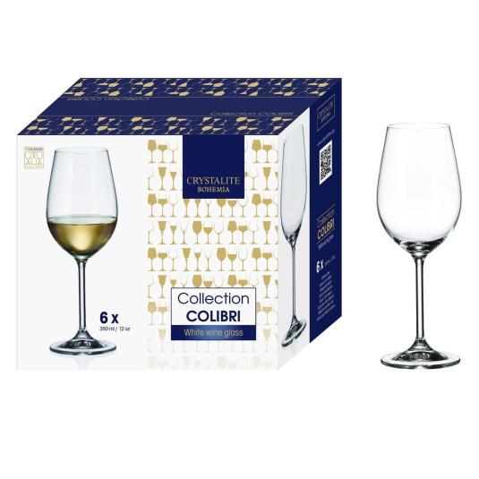 Bohemia Colibri Set of 6 Fine Rim Crystal White Wine Glasses