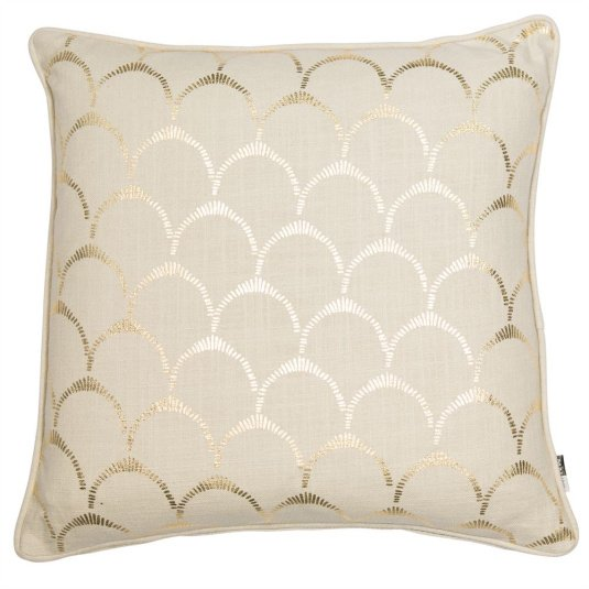 Malini Scallop Gold Foil Cushion