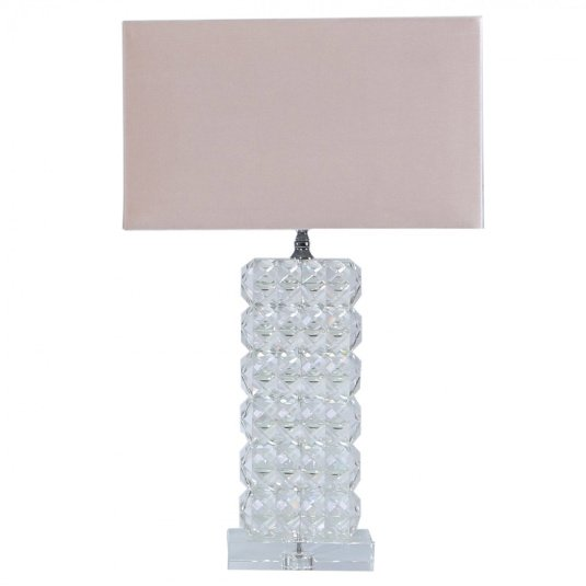 Ivanca Large Crystal Table Lamp with Pink Velvet Shade