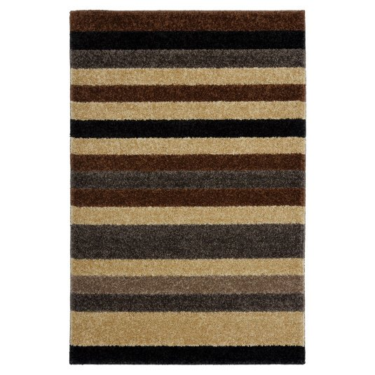 Linea Stripe Chocolate and Caramel Washable Mat