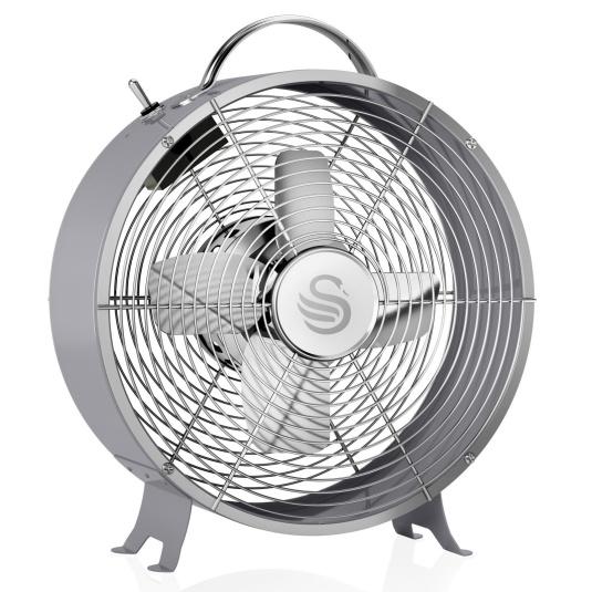 Swan Retro Grey 8 Inch Clock Fan