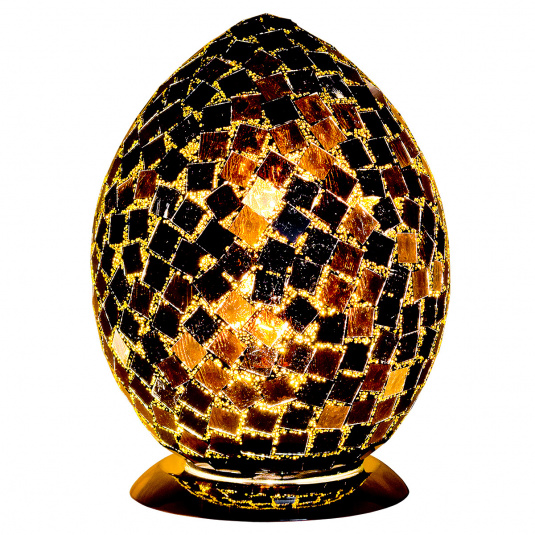 Black Tile Medium Egg Mosaic Table Lamp