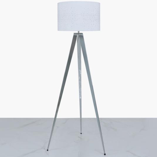 Chrome Tripod Floor Lamp with White Velvet Sparkle Shade