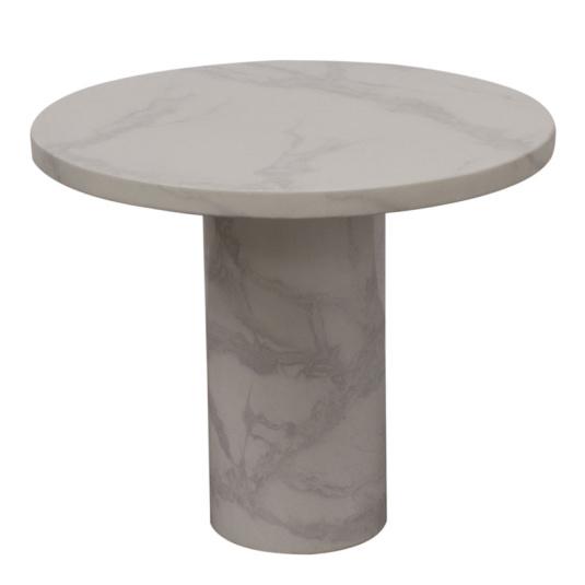 Savona Bone White Circular Marble Effect Lamp Table