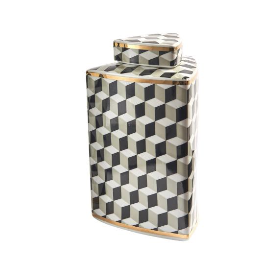 Small Square Op-Art Monochrome Jar