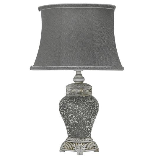 Abri Grey Sparkle Mosaic Medium Table Lamp and Shade