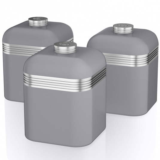 Swan Retro Grey Set of 3 Canisters