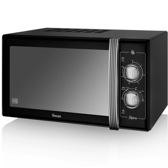 Swan Retro Black 900W Manual Microwave