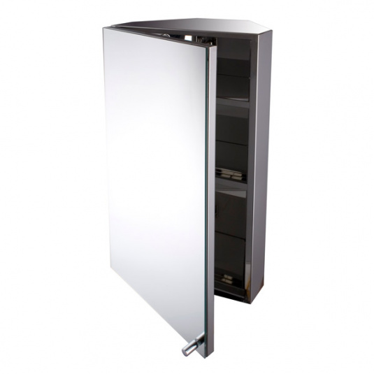 Stainless Steel Bathroom Mirrored Corner Cabinet