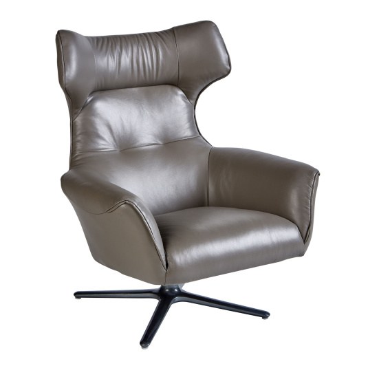 Olympia Grey Leather Swivel Chair