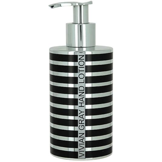 Vivian Gray Silver Stripes Soap Dispenser Hand Lotion