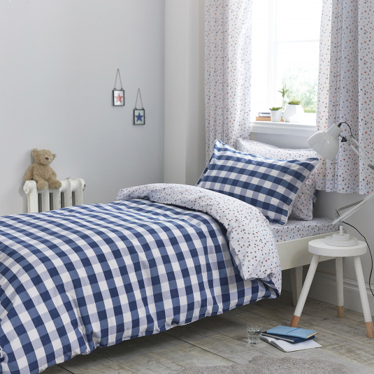 Bianca Gingham Blue Cotton Single Duvet Set