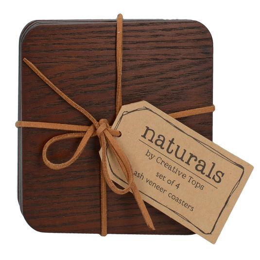 Naturals Brown Wood Set of 4 Coasters