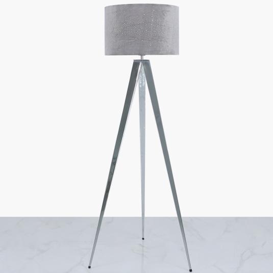Chrome Tripod Floor Lamp with Grey Velvet Sparkle Shade