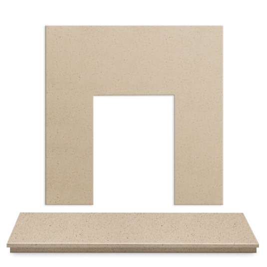 Marfil Stone Back Panel and Hearth