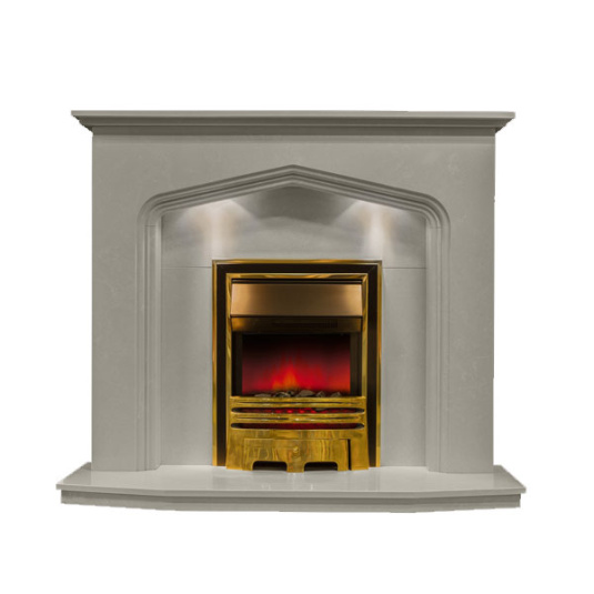 Catania Pearl Marble Fireplace with Lights