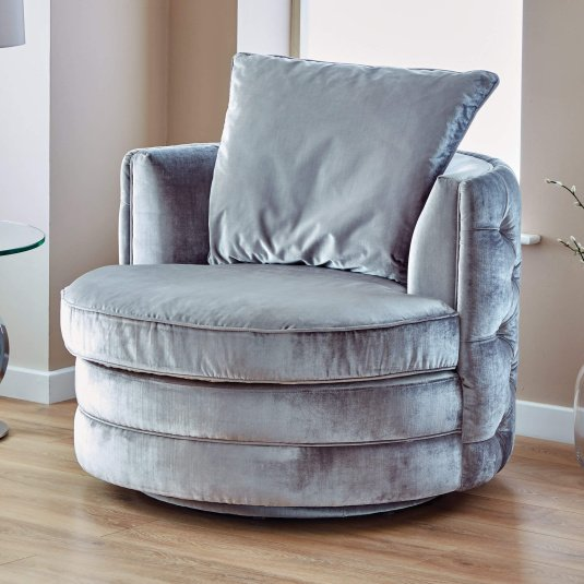 Arabella Grey Velvet Upholstered Swivel Chair - Lifestyle | Housing Units