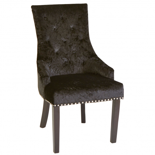 Louis Black Fabric Dining Chair with Knocker