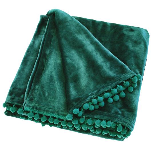 Cashmere Touch Verdigris Fleece Pom Pom Throw