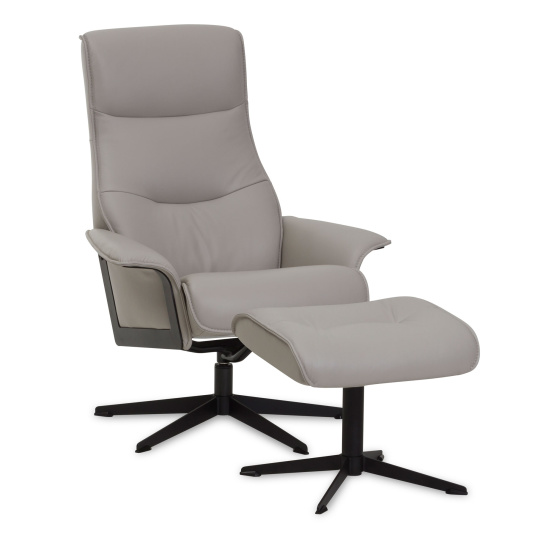 Karlsson Grey Leather Chair & Footstool