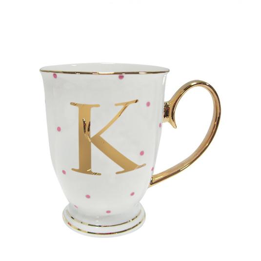 Alphabet Spotty Mug - K