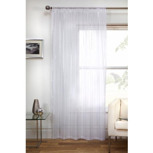 Vertigo White Voile Panel With Metallic Stripe