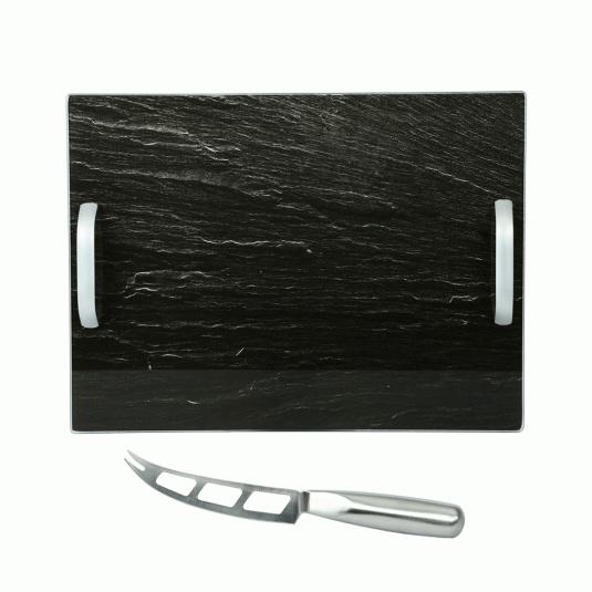 Rectangular Glass Slate Cheese Service Board