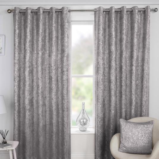 Halo Grey 66x72 Eyelet Curtains