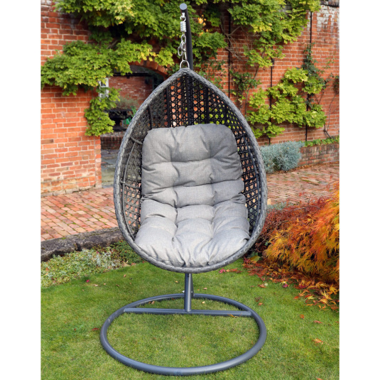 Supremo San Antonio Storm Grey Rattan Garden Single Hanging Egg Chair - Front | Housing Units