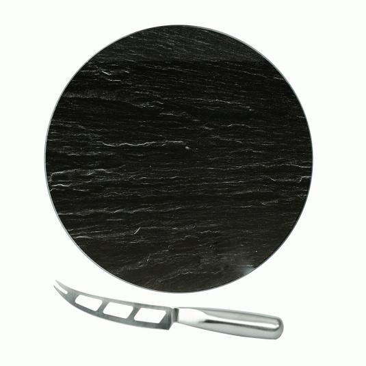 Circular Glass Slate Cheese Service Board