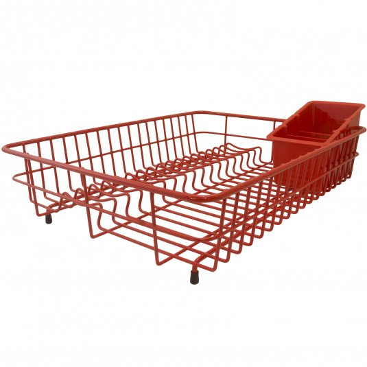 Red Coated Stainless Steel Large Drainer With Cutlery Box