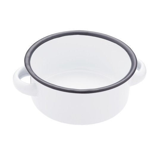 White 14cm Enamel Serving Bowl with Handles