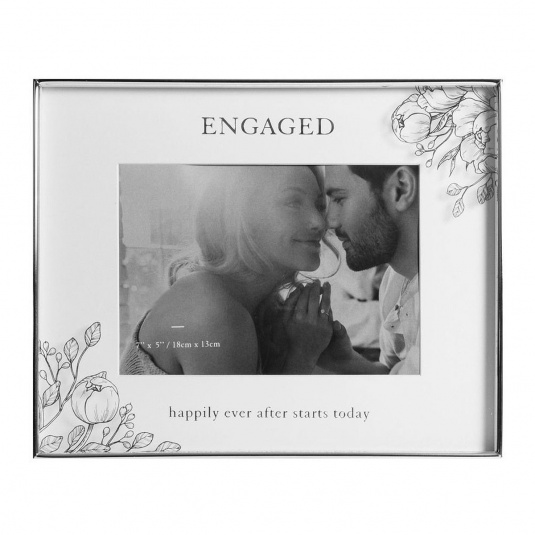 "Engaged Happily Ever After Silver Floral Detail Frame 7"" x 5"""