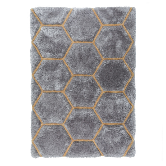 Verge Honeycomb Grey and Ochre 160cm x 230cm Rug