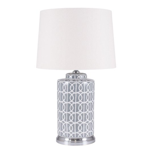 Tall Geo Pattern Table Lamp With Cream Shade