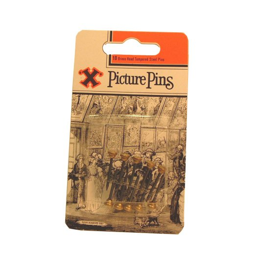 Pack of Ten Brass Headed Picture Pins