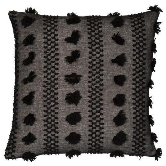 Malini Tazanna Black Pom Pom Cushion