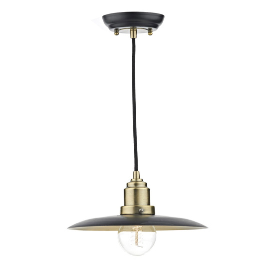 Hannover Antique Brass & Black Single Pendant Light