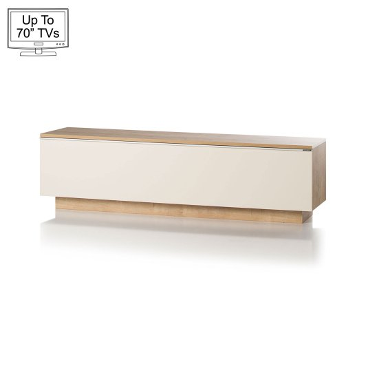 """UK CF Fusion 160cm Oak and Cream TV Stand for up to 70"""" TVs"""