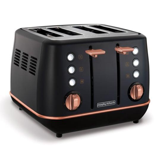 Morphy Richards Evoke Rose Gold & Black 4 Slice Toaster