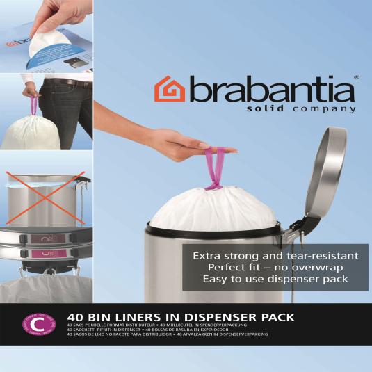 Brabantia 12 Litre Bin Bags in Dispenser Pack - Size C