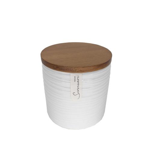 Medium Off White Ripple Storage Canister